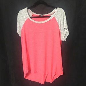 torrid Pink and grey short sleeve tee